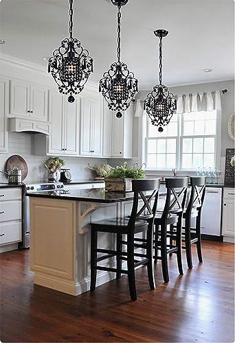 PAPAYA Original Black Crystals Small Chandeliers,Vintage 1-Light Chandelier Ceiling Light Fixture for Kitchen Island