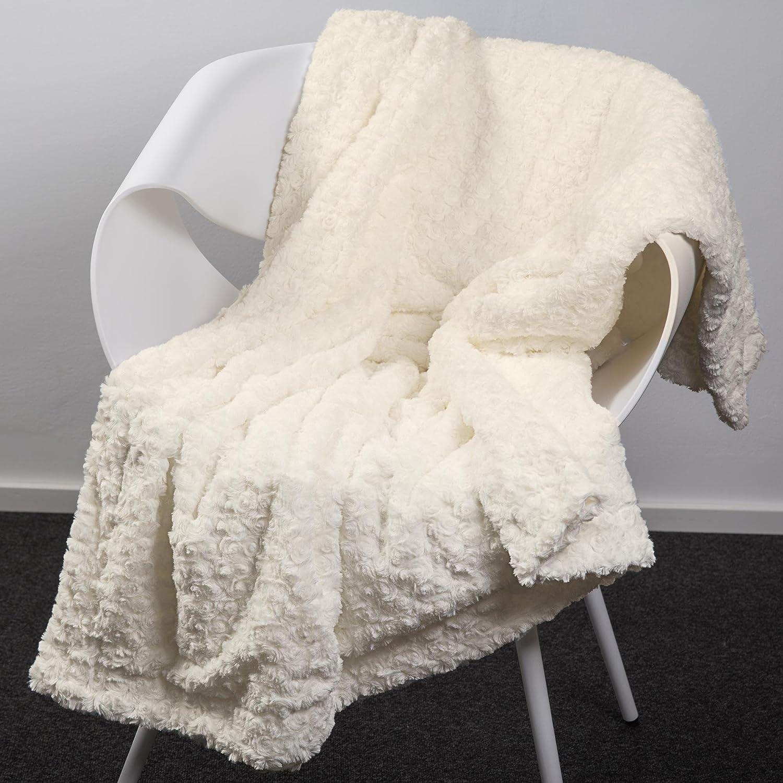 CelinaTex Florenza Couverture r/éversible Douillette en Peluche Microfibre Polaire Velours 150 x 200 cm Blanc