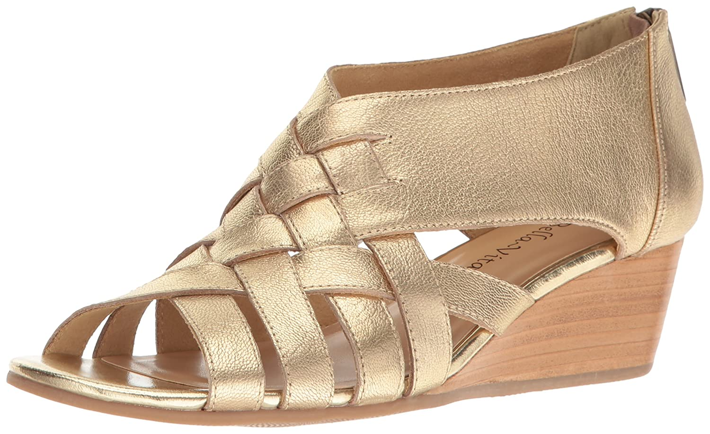 Bella Vita Women's Isabelle Wedge Sandal B01N961YJT 6 2W US|Metallic/Gold