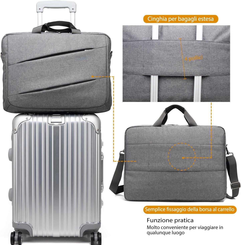 Coolbell Sac multi-compartiments et multifonctionnelle ordinateur portable 17,3/pouces comprend une bandouli/ère pour MacBook//Acer//HP//DELL Alienware//Lenovo//pour homme et femme gris gris 17,3 Pollici