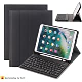 iPad Pro 10.5 Keyboard Case,Naswei Ultra-Slim Stand Portfolio Soft TPU Case Cover Built-in Pencil Holder with Removable Detachable Keyboard for Apple iPad Pro 10.5 - Black