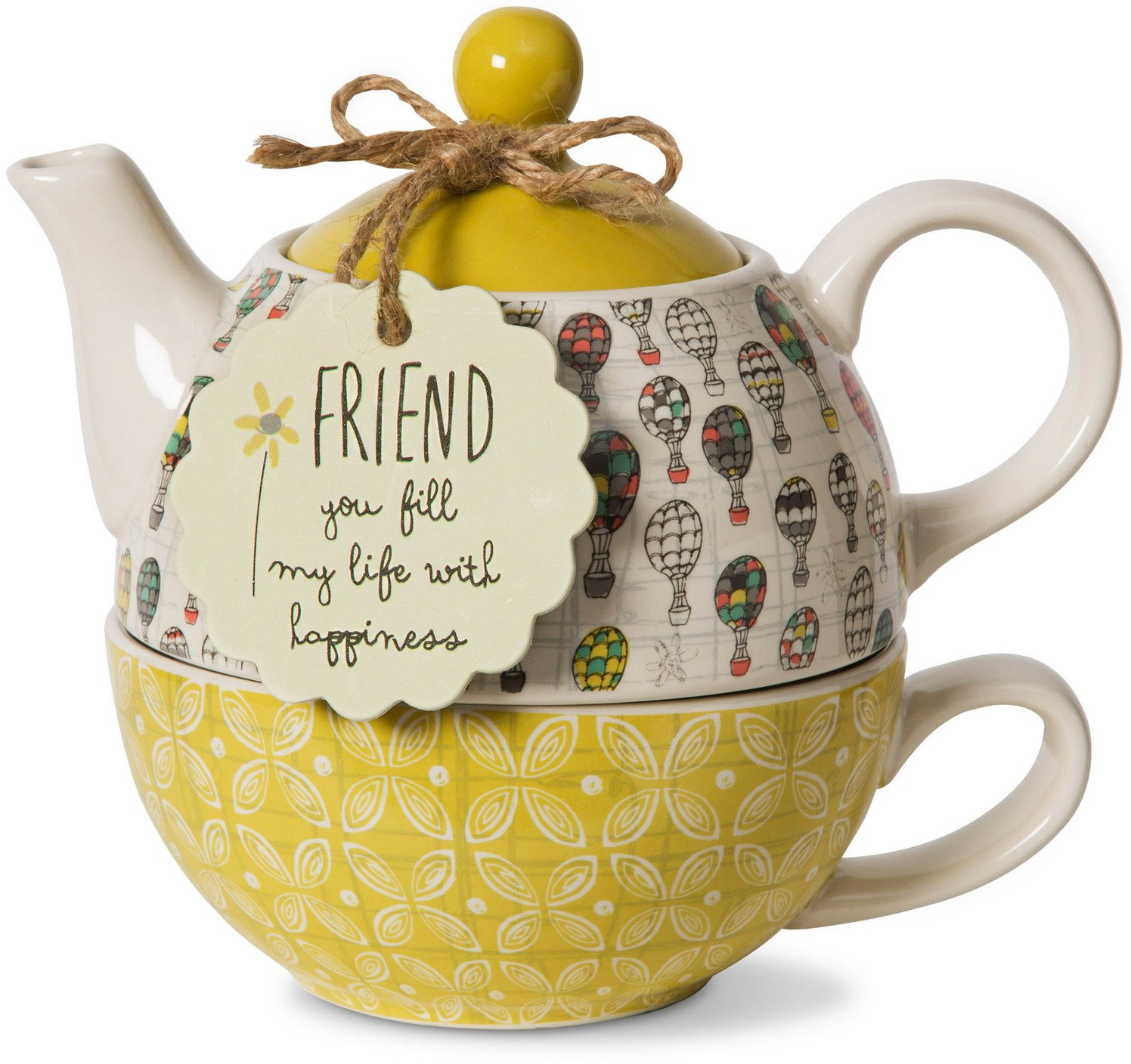 Pavilion Gift Company Friend Ceramic Teapot and Cup for One, 15 oz, Multicolored 74067
