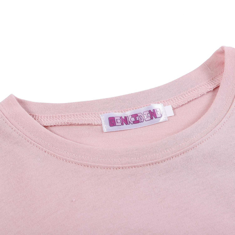 GENKIDINO Girls T Shirt Cotton Short Sleeve Crewneck Tee