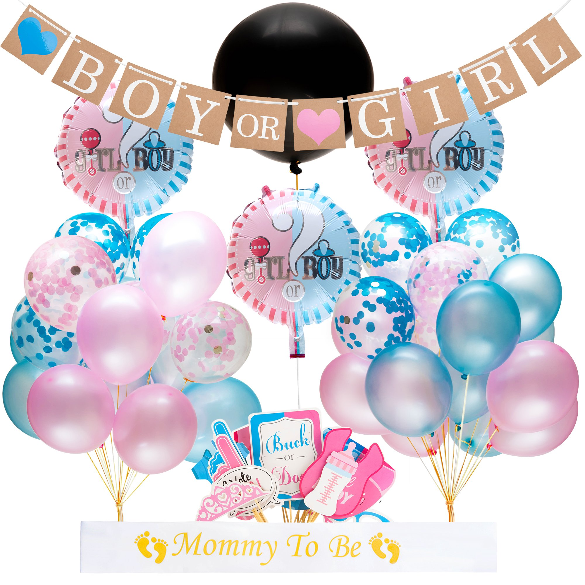 Gender Reveal Party Supplies and Baby Shower Boy or Girl Kit (64 Pieces) - Including 36'' Reveal Balloon, Confetti Balloons, Banner, Photo Props and More - All You Need to Celebrate Your Little One
