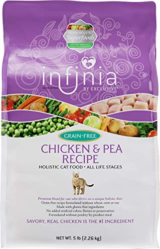 Infinia Chicken and Pea Grain-Free Cat Food Nutritionally Complete 5 Pound 5 lb Bag