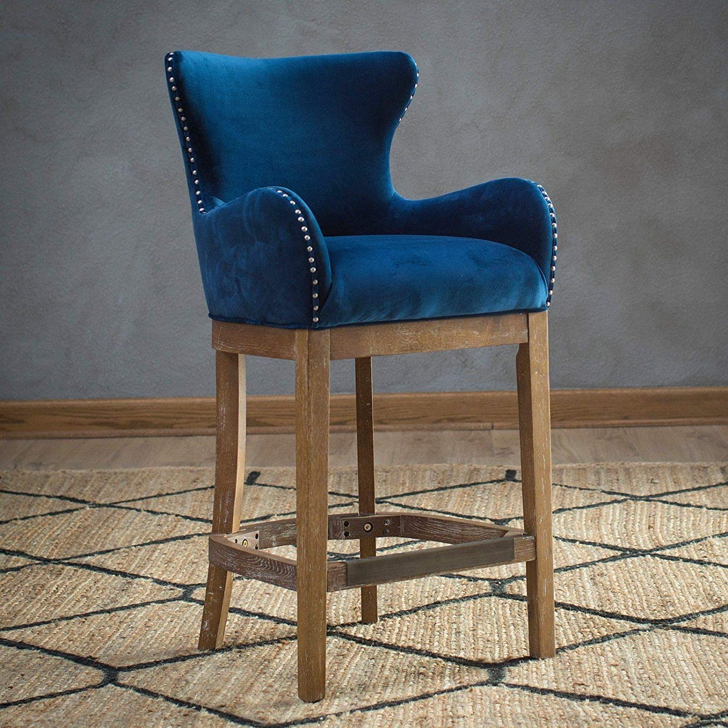 Awe Inspiring Amazon Com Home Collection Traditional Wingback Navy Blue Alphanode Cool Chair Designs And Ideas Alphanodeonline