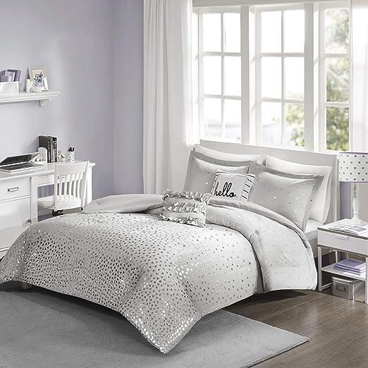 Twin//Twin XL Zoey Metallic Triangle Print Comforter Set Micro Fiber Grey Silver