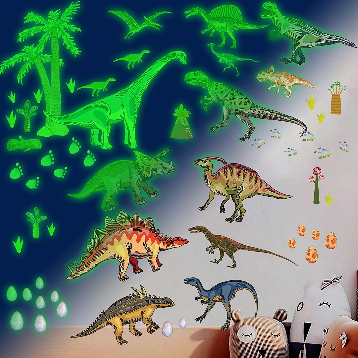 Dinosaur Wall Decals for Boys Room,Glow in the Dark Dinosaur Wall Decals stickers for kids Bedroom,Large Dinosaur Wall Decor Decorations for Nursery, Living Room,Classroom,Kids Birthday Christmas Gift