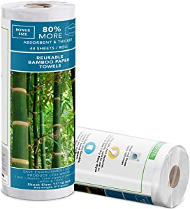 Upgraded 2020 | Zero Waste | (44 Sheets Roll) | Reusable Bamboo Paper Towels | Unpaper Towels | Strong & Absorbent | 100% Organic | Germ Free | Lint Free| No Odor| Washable