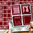"""18 RED GLASS MOSAIC EFFECT WALL TILES - 2mm Thick and solid Self Adhesive Stick on Wall Tile Stickers Transfers - 18 tiles per box 4""""x 4"""" (10cm x 10cm) - NO CEMENTING ! NO GROUTING ! Each box of 2mm Thick Solid Tile Stickers will totally cover over the area underneath of 2 square feet. TILE OVER ANY SIZE OF TILE OR ONTO THE WALL, thick Self Adhesive Wall Tiles that are Water and Steam Resistant for both Kitchens and Bathrooms."""