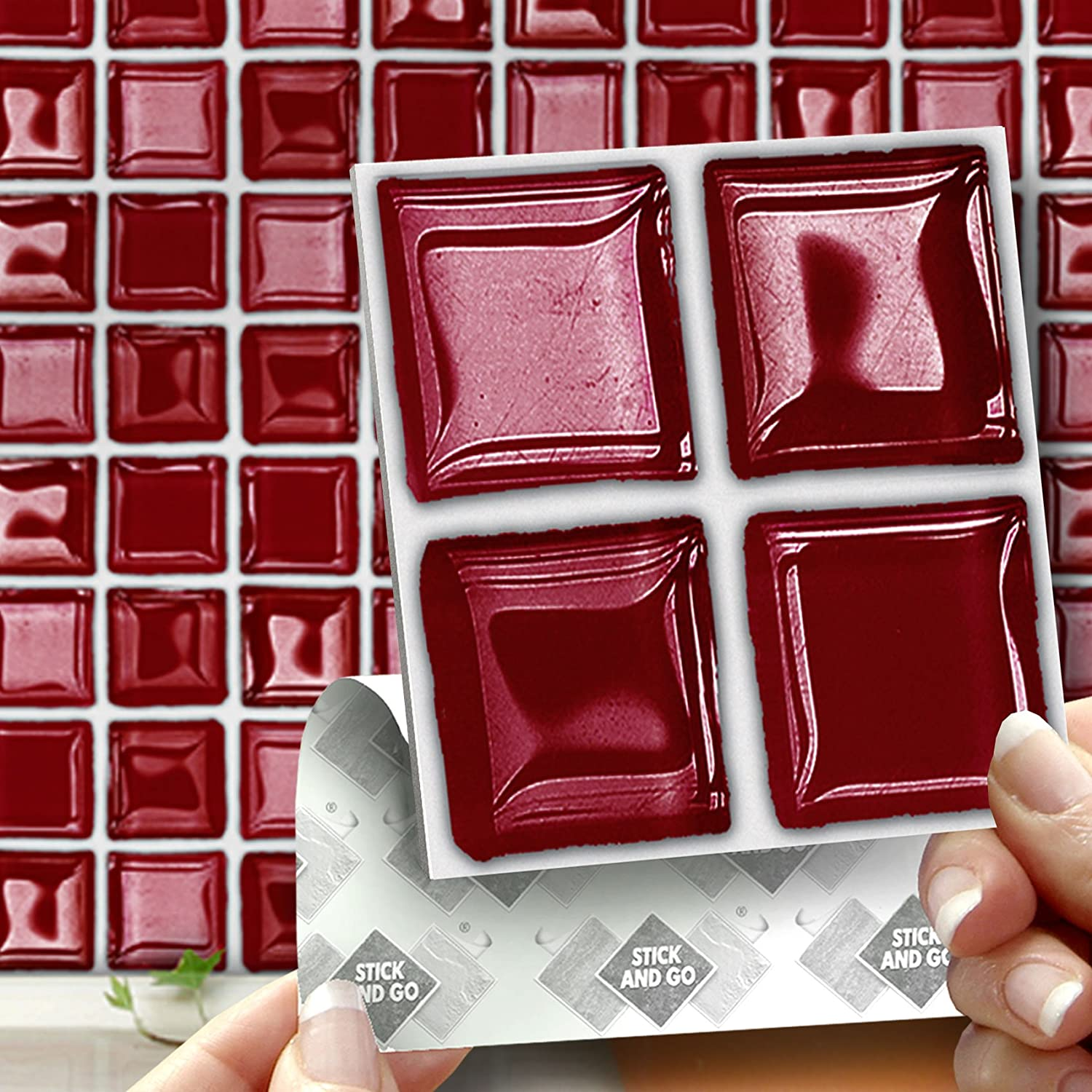 18 RED GLASS MOSAIC EFFECT WALL TILES - 2mm Thick and solid Self ...