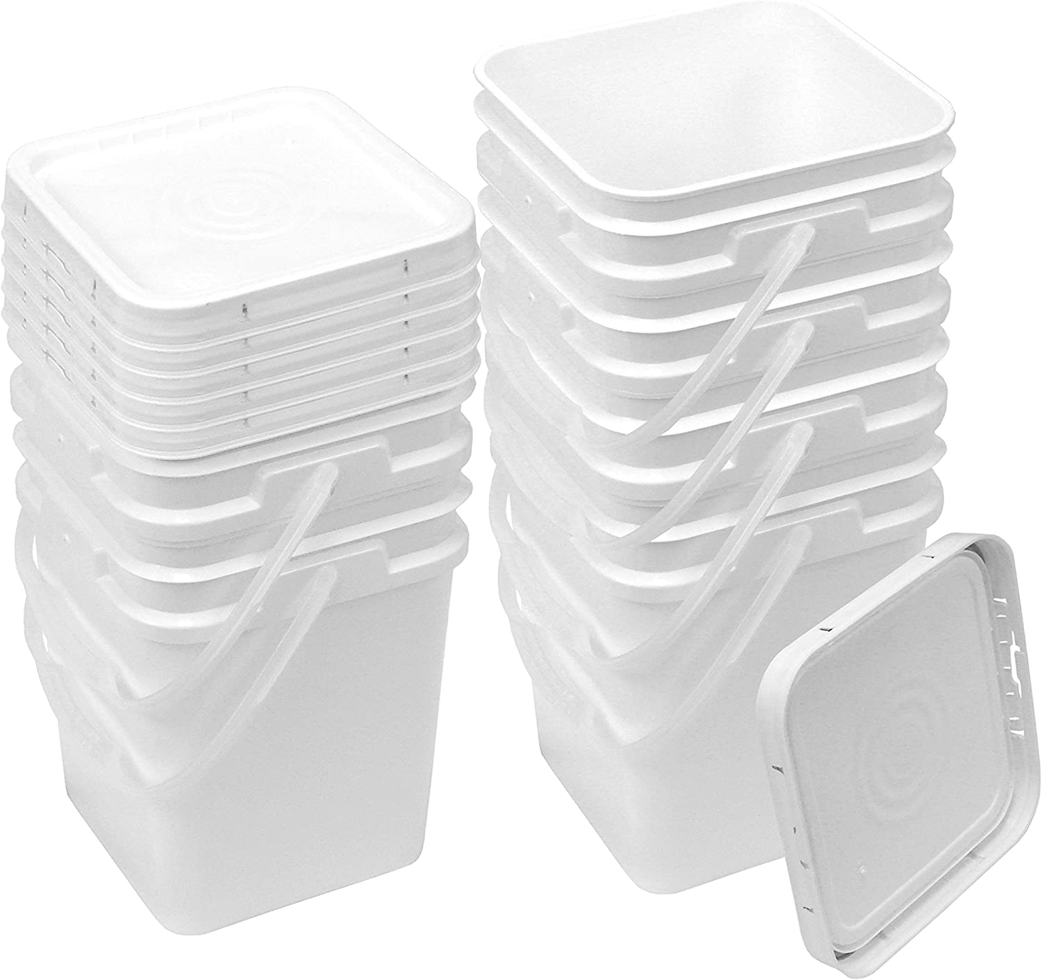 Square Bucket Kit, Six 4-Gallon Buckets and Six White Snap-on Lids with Gaskets