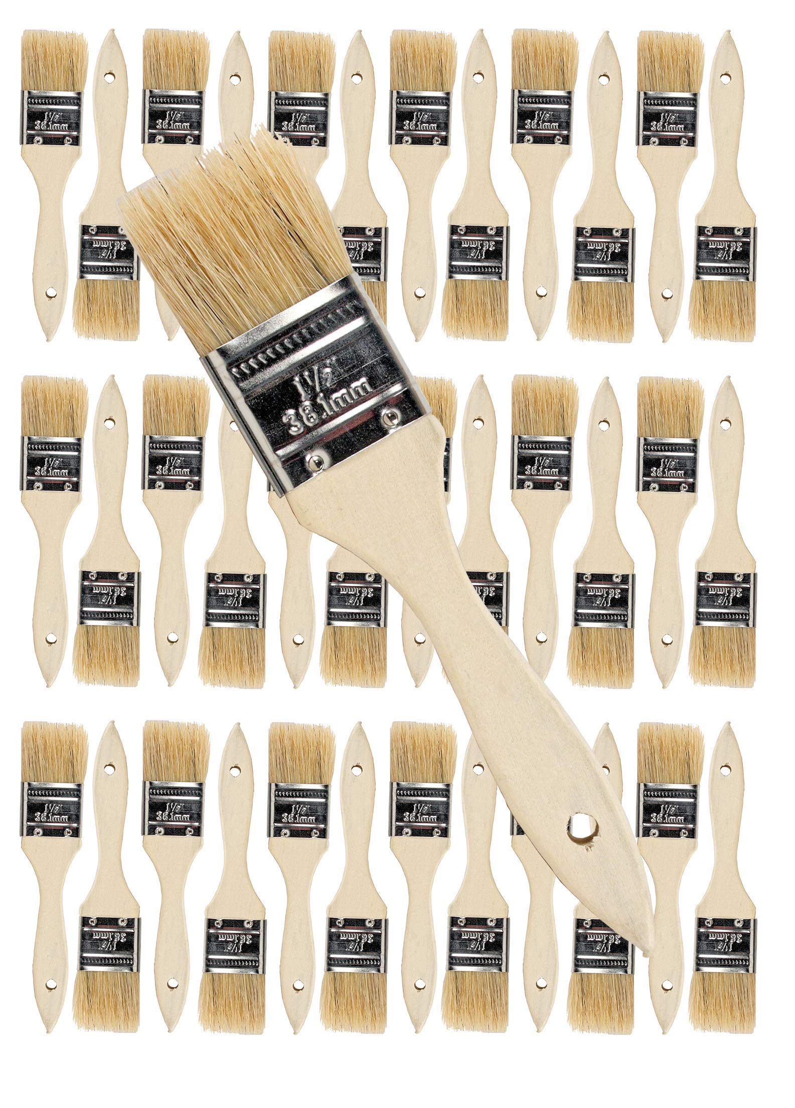 36PK 1.5 inch Chip Paint Brushes for Paint, Stains,Varnishes,Glues, Gesso, Arts & Crafts. (1-1/2''-36ea)