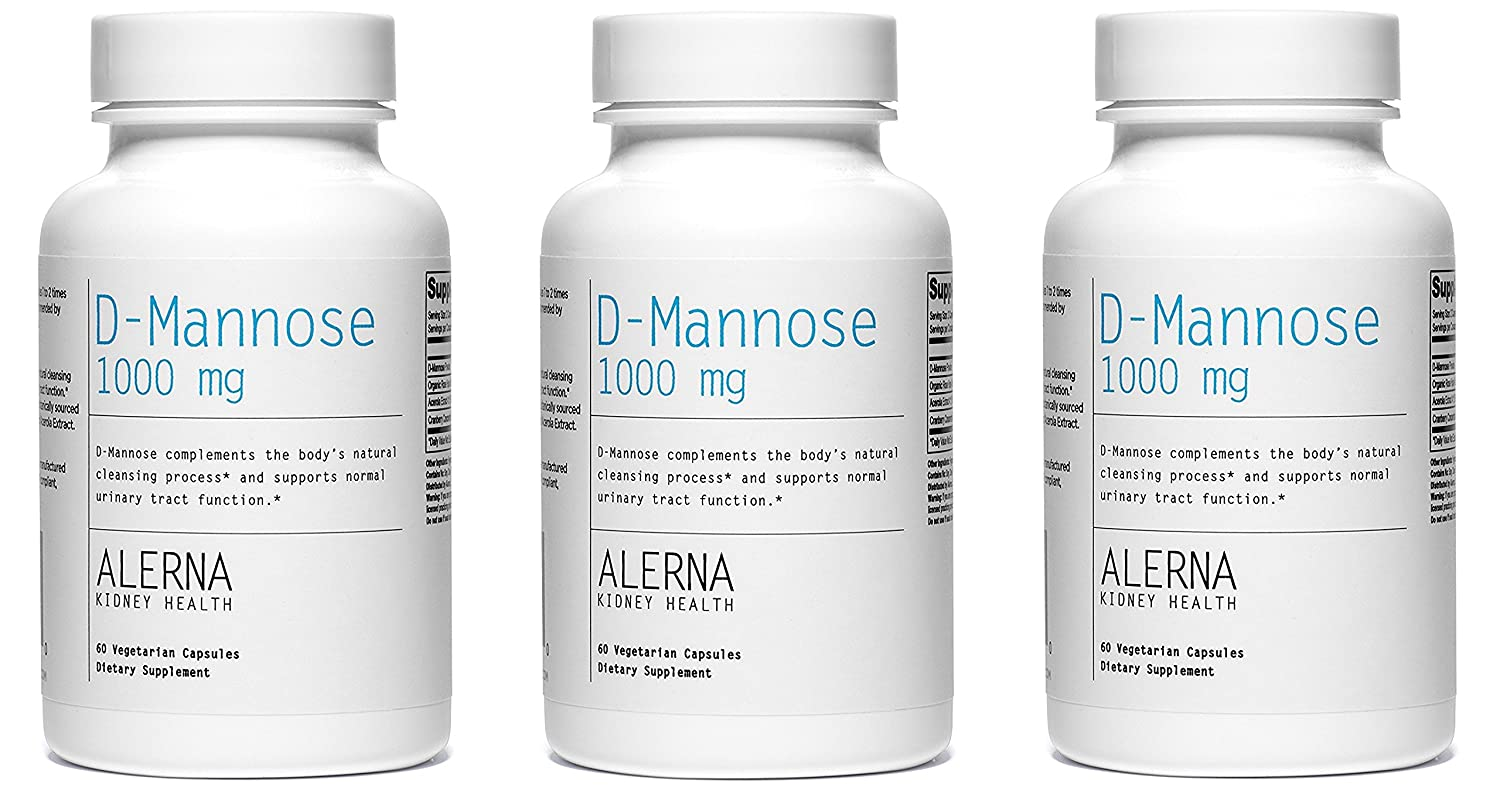 Alerna Kidney Health D-Mannose 1000mg with Organic Rose Hips and Cranberry Concentrate to Support Normal Urinary Tract Function – 3 Bottles