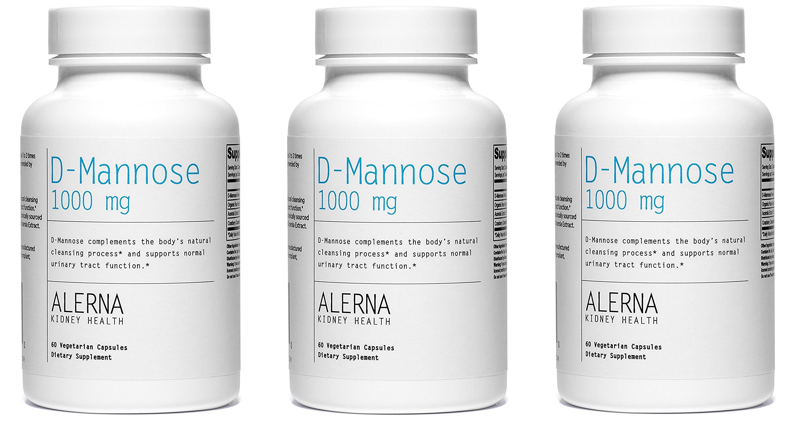 D-Mannose (1000mg) (w/Organic Rose Hips and Cranberry Concentrate) - Supports Normal Urinary Tract Function.* (3 Bottles)