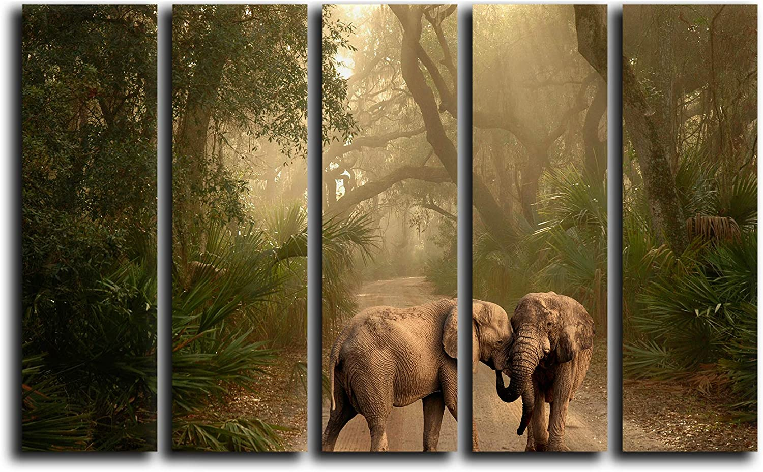 Large 5 Piece Elephants in Rainforest Wall Art Decor Picture Painting Poster Print on Canvas Panels Pieces - Nature Theme Wall Decoration Set - Wilde Nature Wall Picture for Creative Space 5p, 35x55
