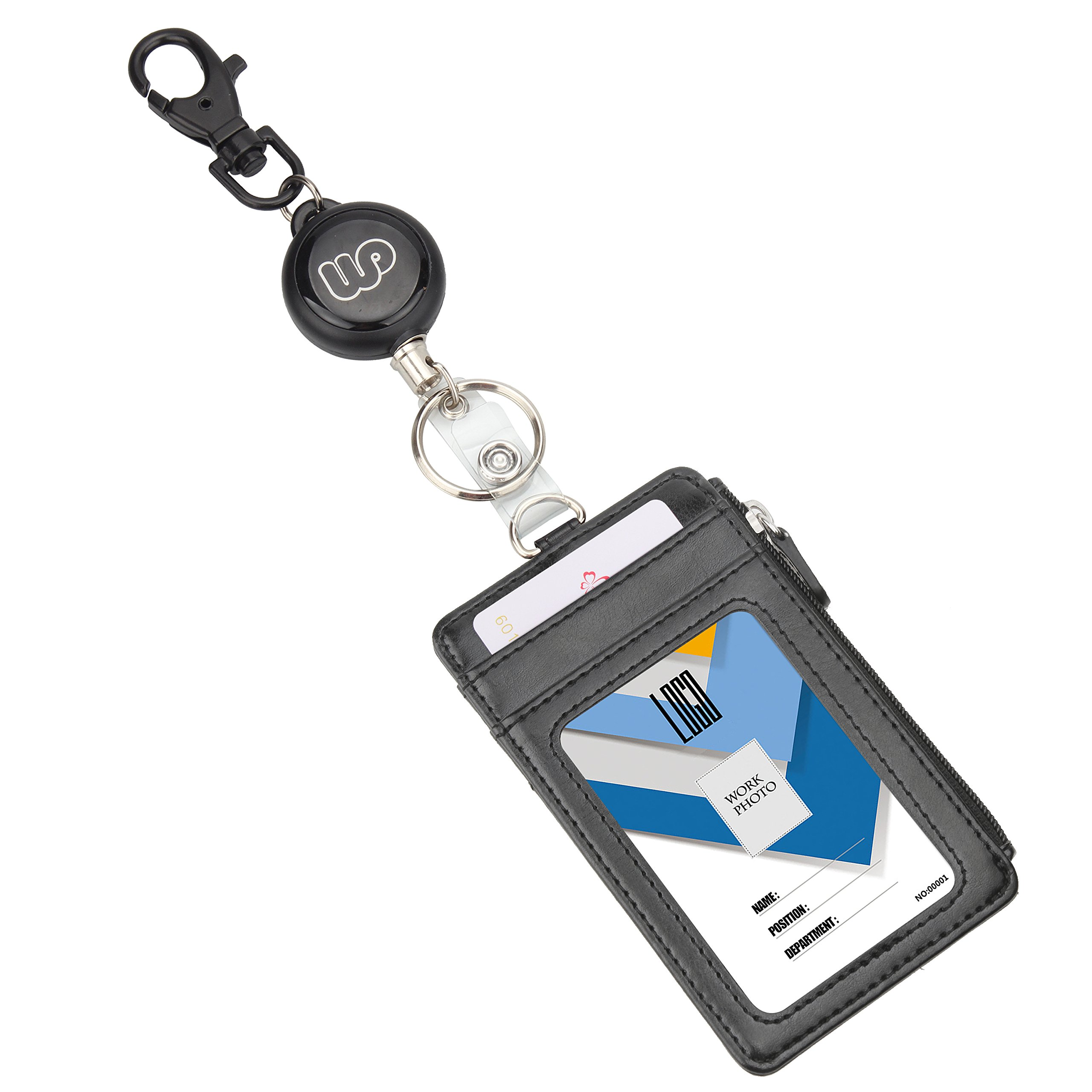 Wisdompro Heavy Duty Retractable Reel with Key Ring and Double Sided PU Leather ID Card Badge Holder Wallet with 1 Side Zipper Pocket, 5 Card Slots for Office ID, School ID (Vertical)
