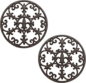 2 PCS Cast Iron Trivet, Metal Coaster for Hot Dishes, Pots, Kitchen, Countertop, Dining Table, with Rubber Feet Caps, 7.3 Inch Large, Rustic Brown Finish (2 PCS Rustic Brown)