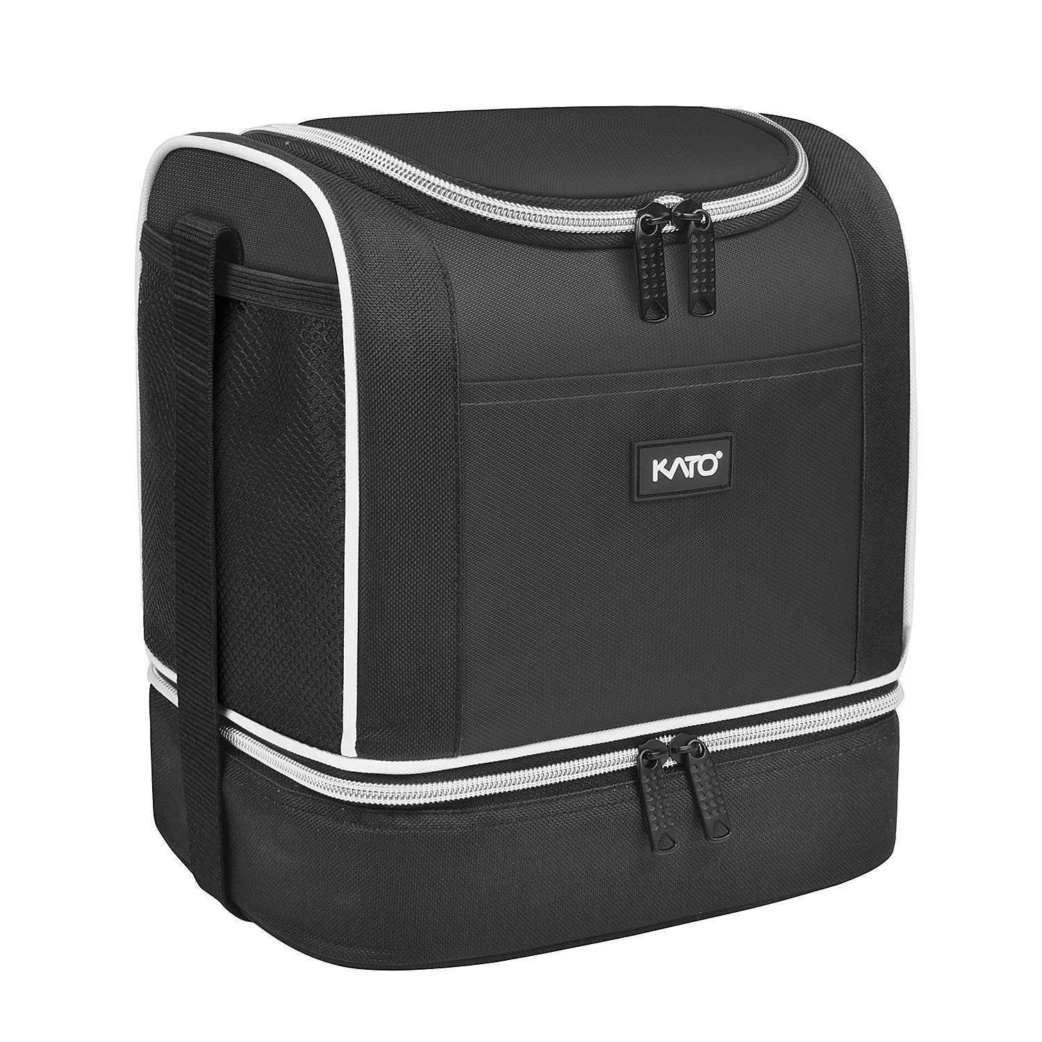 Kato Insulated Lunch Bag, Dual Compartment Portable Bento Cooler Totes for Men and Women, Black