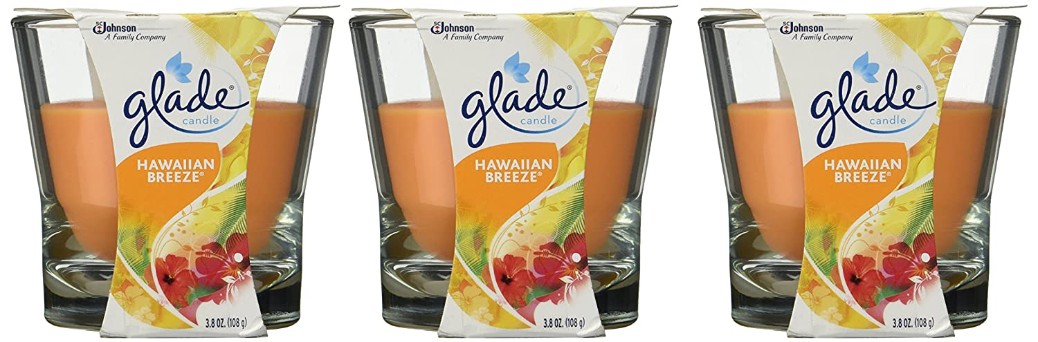 Glade Jar Candle, Hawaiian Breeze, 3.8 Ounce (Pack of 3)