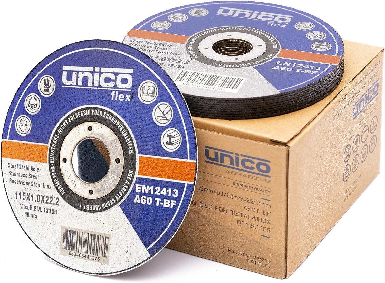50 pcs disco de corte de diámetro 115 x 1 mm Inox de acero inoxidable extra fino Flex Disco
