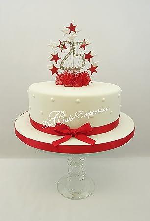 Kuchen Dekoration Topper Burst Spray Mit 25 Geburtstag Rot Weiß