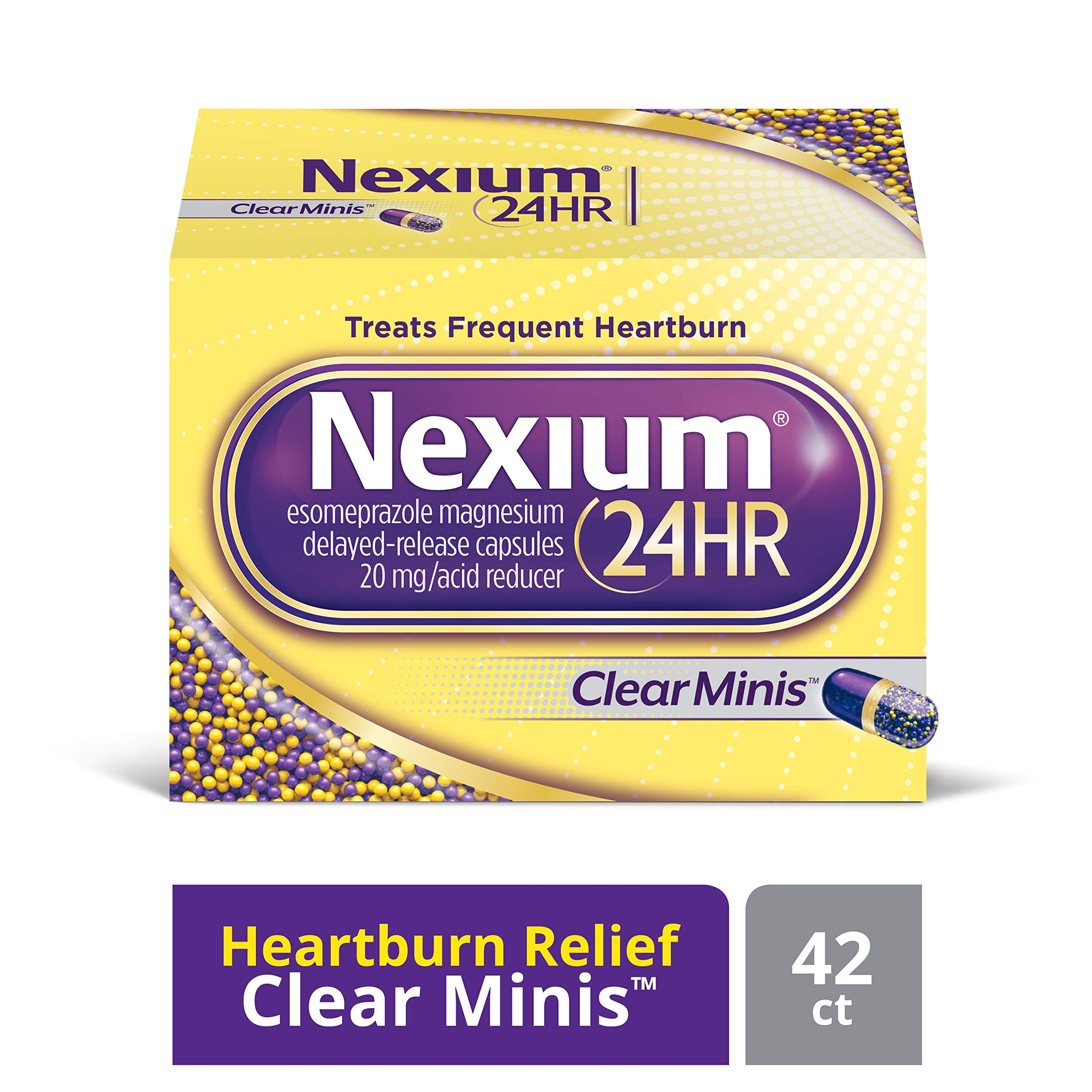 Nexium 24HR (42 Count, ClearMinis) All-Day, All-Night Protection from Frequent Heartburn Medicine with Esomeprazole Magnesium 20mg Acid Reducer, 38% Smaller Capsule by Nexium