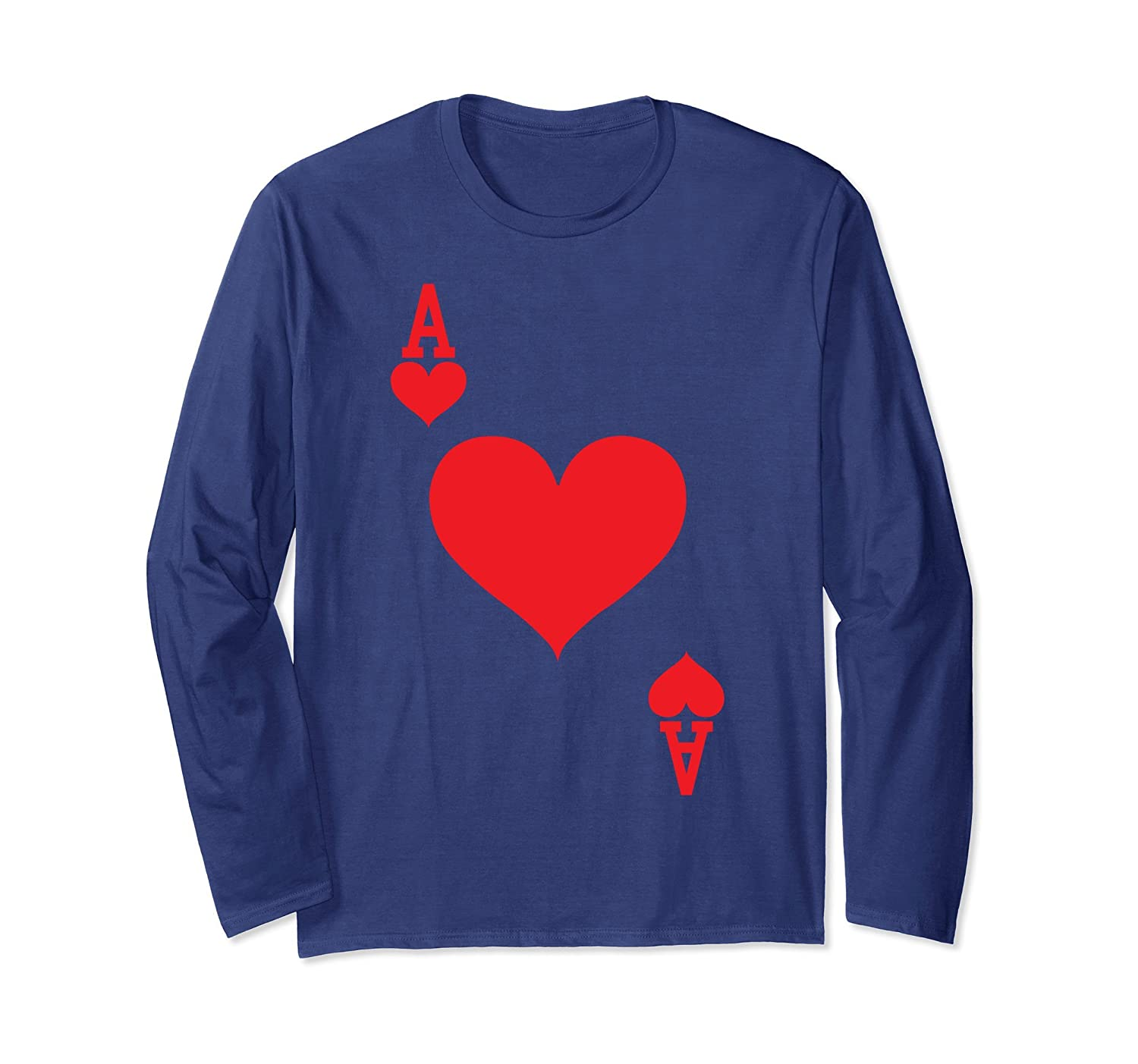 Ace of Hearts - Playing Card Halloween Costume Long Sleeve-mt