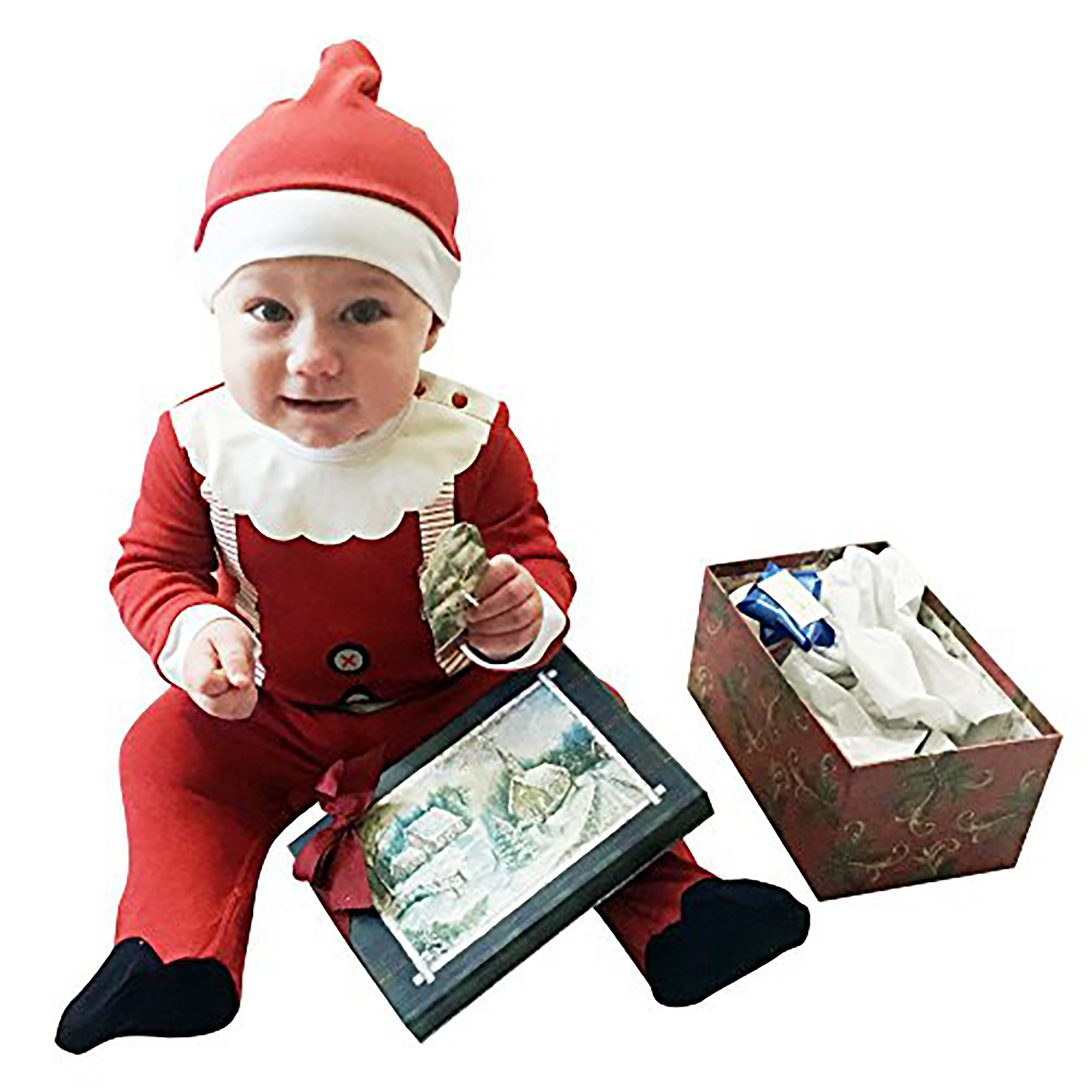 Fayfaire Christmas Pajamas Boutique Quality: Adorable Xmas Santa Suit with Hat 6-12M by Fayfaire (Image #5)