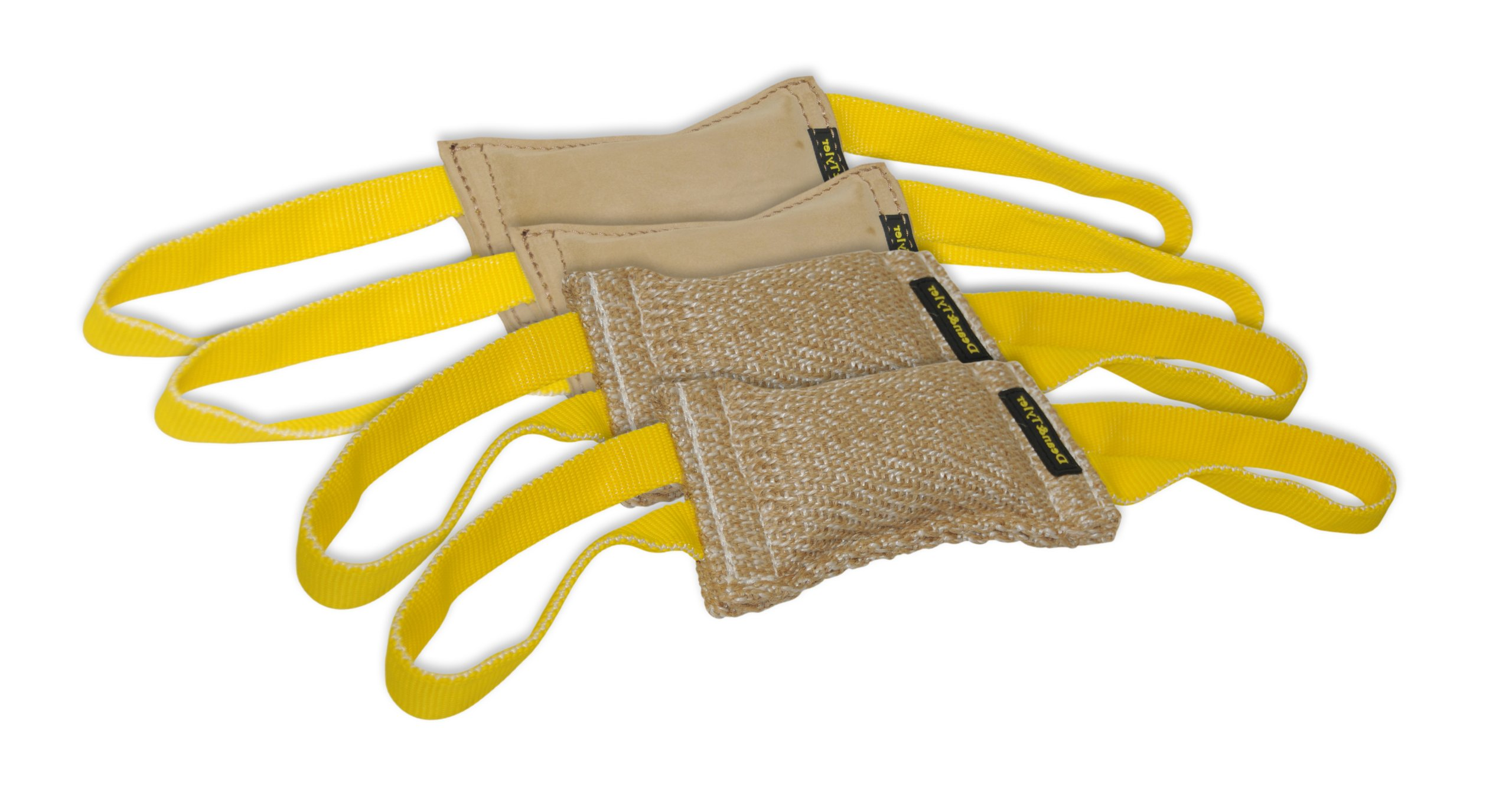 Dean & Tyler Bundle of 4 Tugs for Pets, 2-Jute and 2-Leather, 8-Inch by 4-Inch