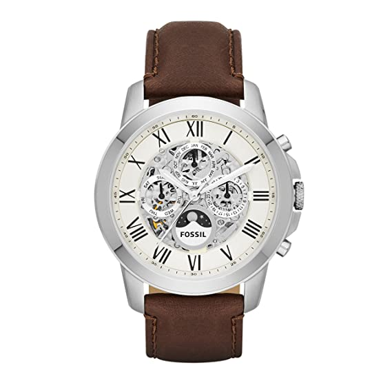 ace4c0815810 Fossil Men s ME3027 Grant Automatic Watch With Brown Leather Band ...