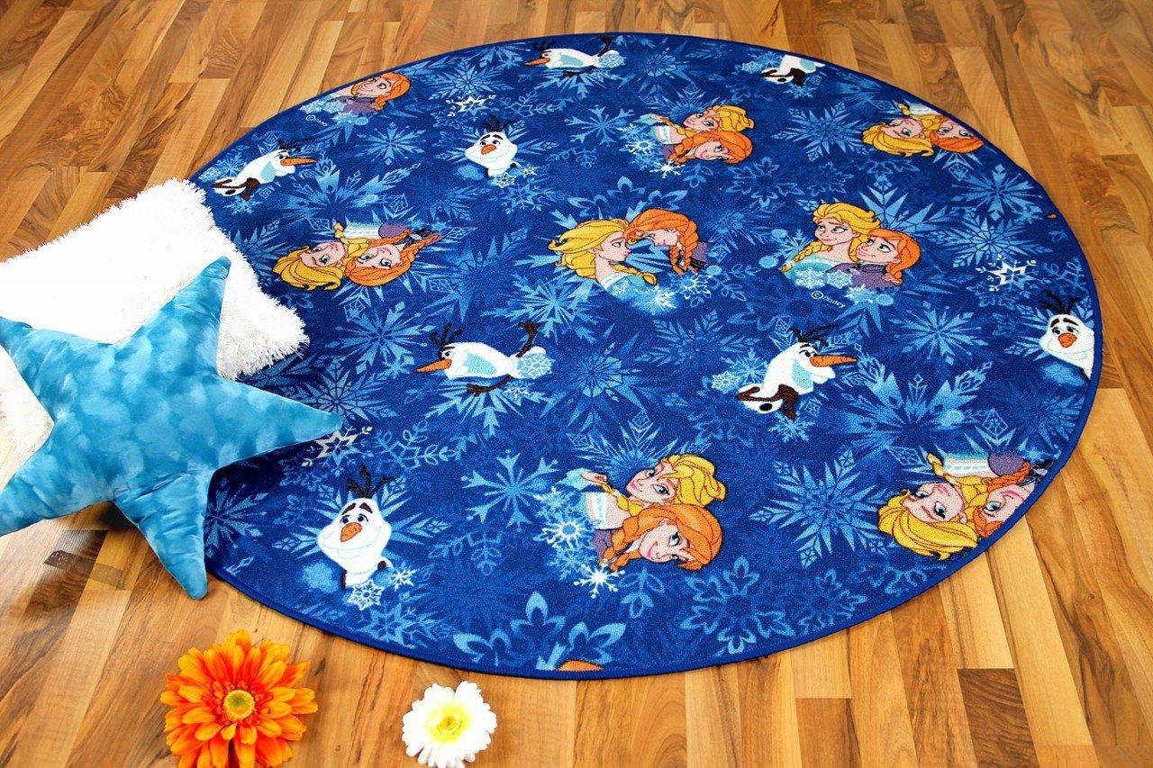 Snapstyle Alfombra Infantil de Walt Disney Frozen Redonda - Azul - en 4 tamaños