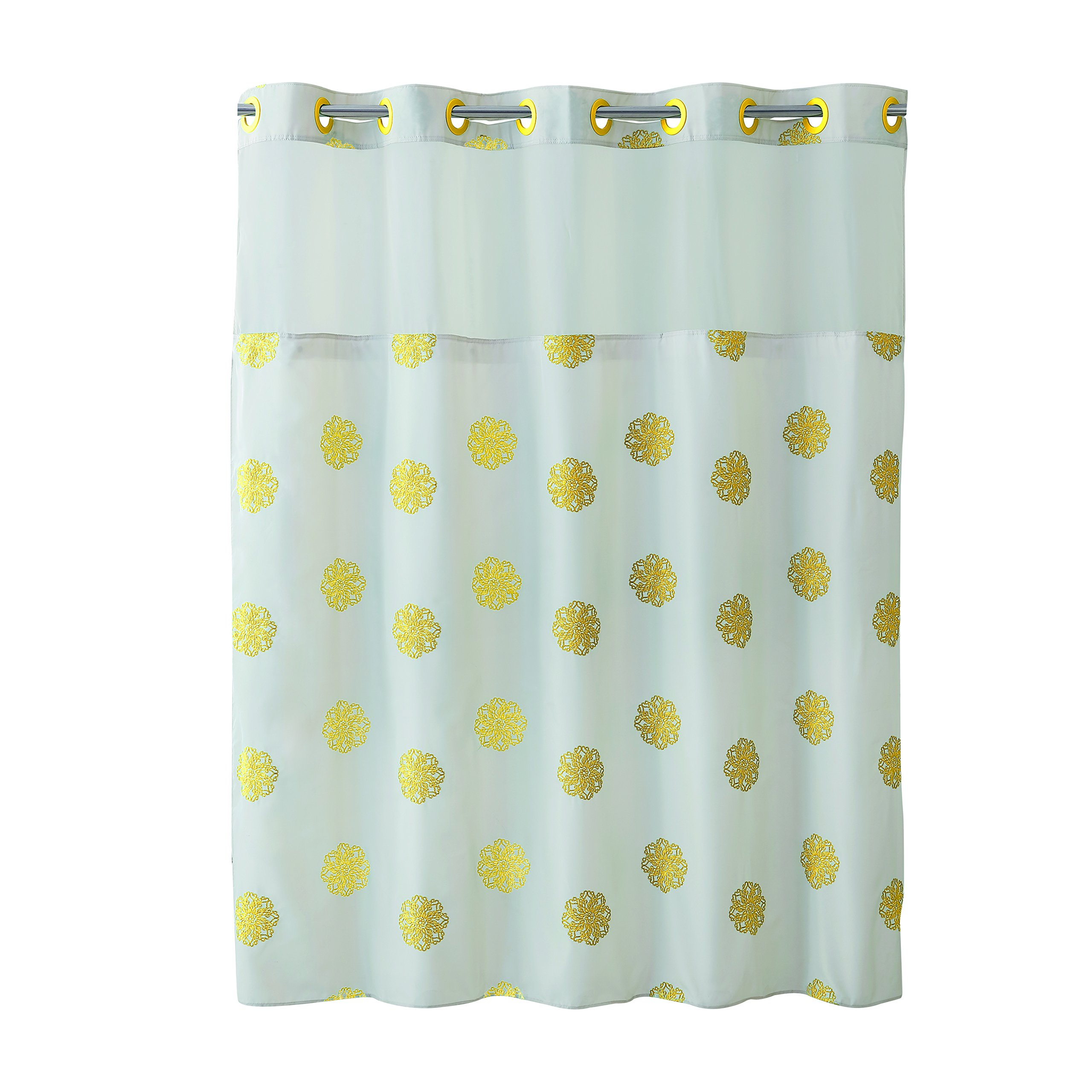 Hookless RBH40MY033 Sunburst Floral Polyester with PEVA Liner and Flex-On Rings Shower Curtain, White/Yellow