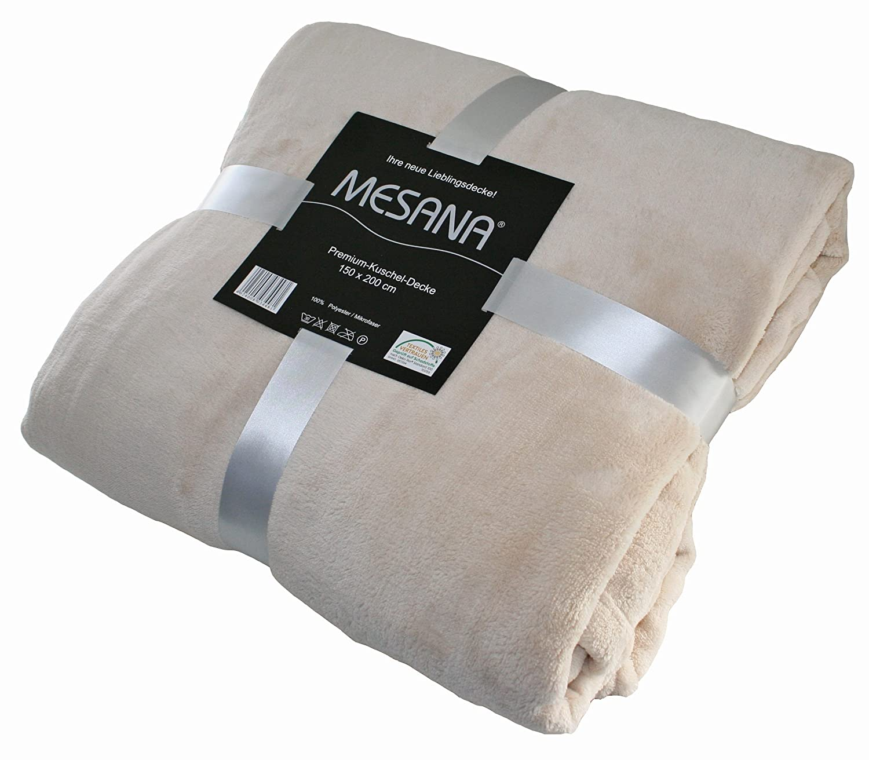 Beeindruckend Decke Beige Referenz Von Mesana F-10059/02 Hochwertige Mikrofaser Premium Wohndecke, 150