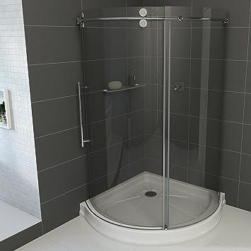 VIGO Sanibel 40 x 40-in. Frameless Round Sliding Shower Enclosure ...