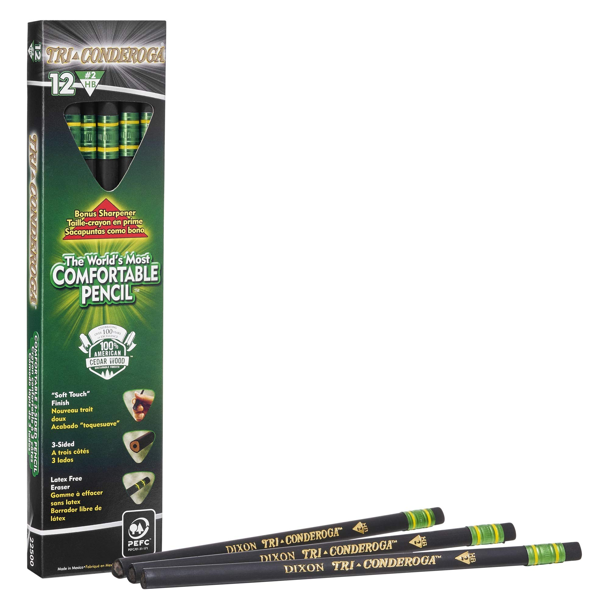 TICONDEROGA Tri-Conderoga No. 2 Triangle Pencils 6 12-Count Boxes, Total 72 Pencils, (Wood Cased, Black Writing) w/BONUS Sharpener (22500) by Ticonderoga