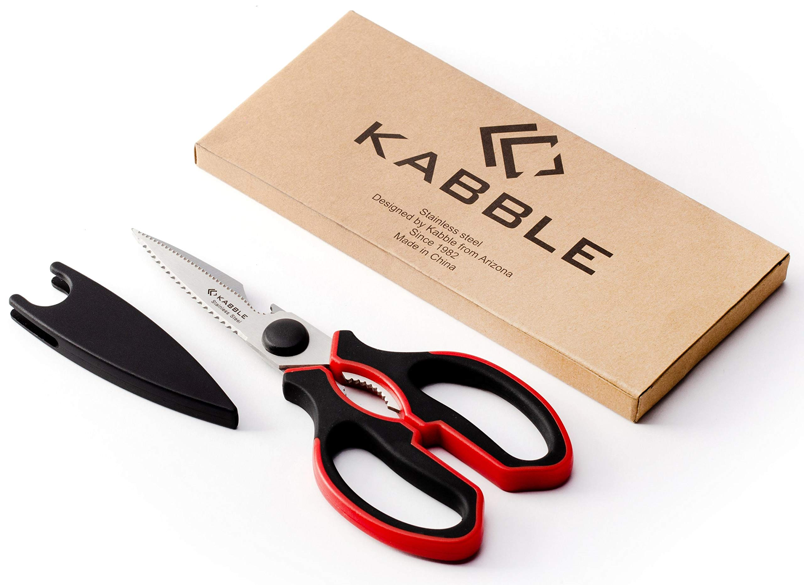 MORICAI Premium Heavy Duty Kitchen Shears, Kabble Multifunction Kitchen Scissors, Latest and Smart Design, As Sharp As Any Knife, Red-Black by MORICAI