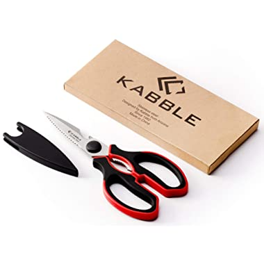 Moricai Premium Heavy Duty Kitchen Shears, Multifunction Kitchen Scissors, Latest and Smart Design, As Sharp As Any Knife, Black-Red