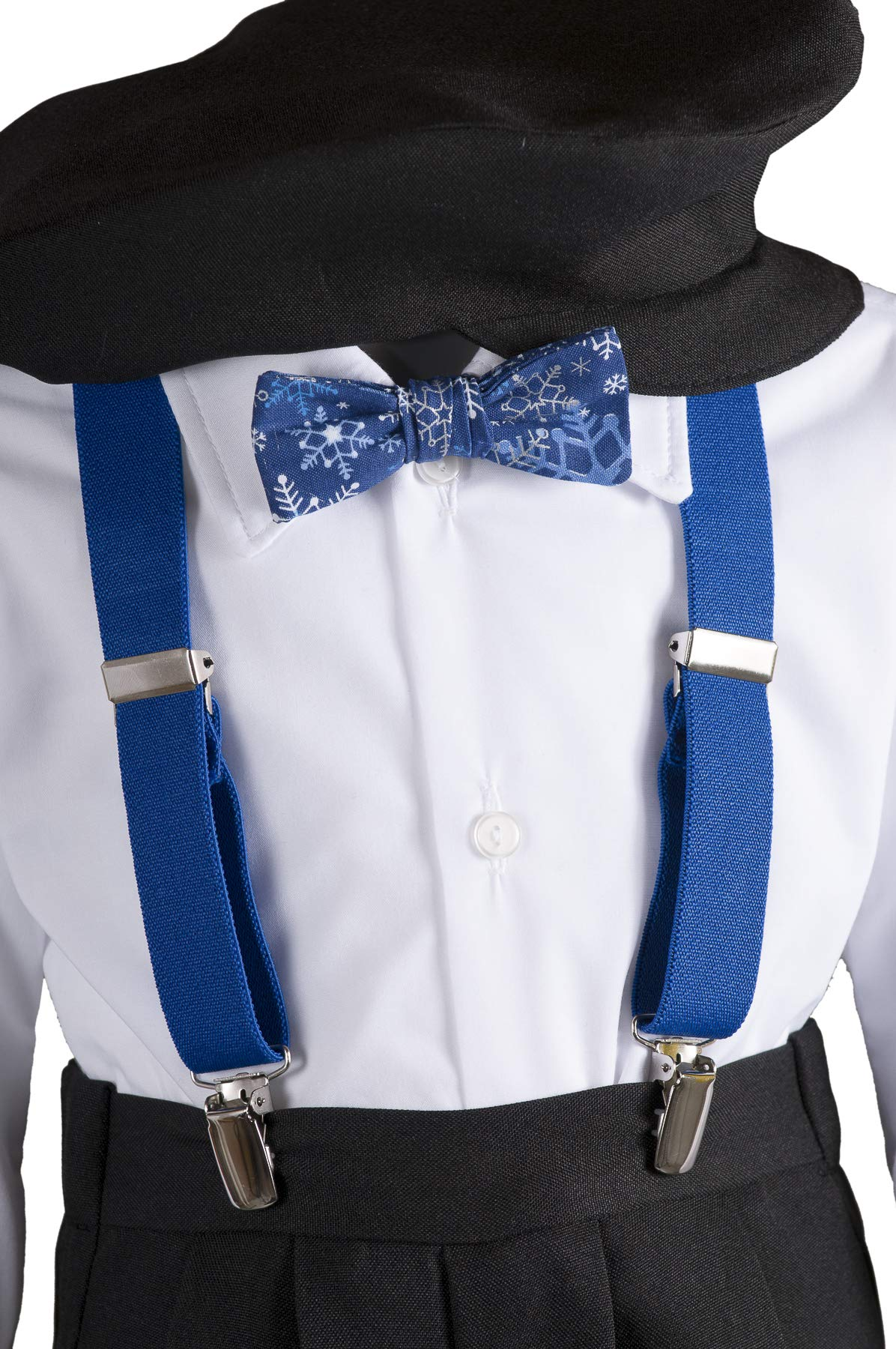 Boys Black Knickers Pageboy Cap with Royal Blue Suspenders & Snowflake Bow Tie (6B) by Tuxgear (Image #3)