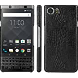Taslar™ Luxury Classic Crocodile Skin Pattern [Ultra Slim] PU Leather Anti-scratch PC Protective Hard Case Cover for BlackBerry KEYone,(Black)