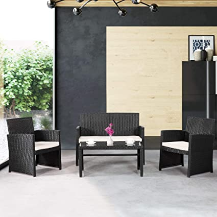 Yardwind Outdoor Sofa 4 Piece Wicker Patio Outdoor Furniture Outdoor  Covnersation Rattan Sofa Dining Set Durable