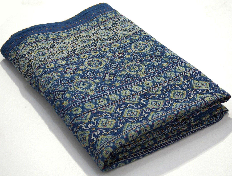 Hand Block Print Kantha Quilt Ajrakh Kantha Bedspread Indigo Print Queen Size, 90x108 Inche Vegetable Dye Ajrakh Kantha Quilt