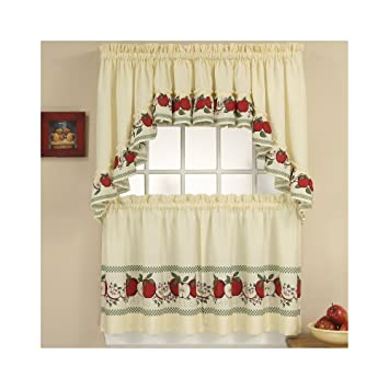 36 Inch Length Red Delicious Apple Print Country Kitchen Curtain Set