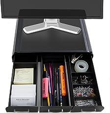 Mind Reader 'Perch' Soporte de monitor PC laptop iMac y organizador de escritorio, negro