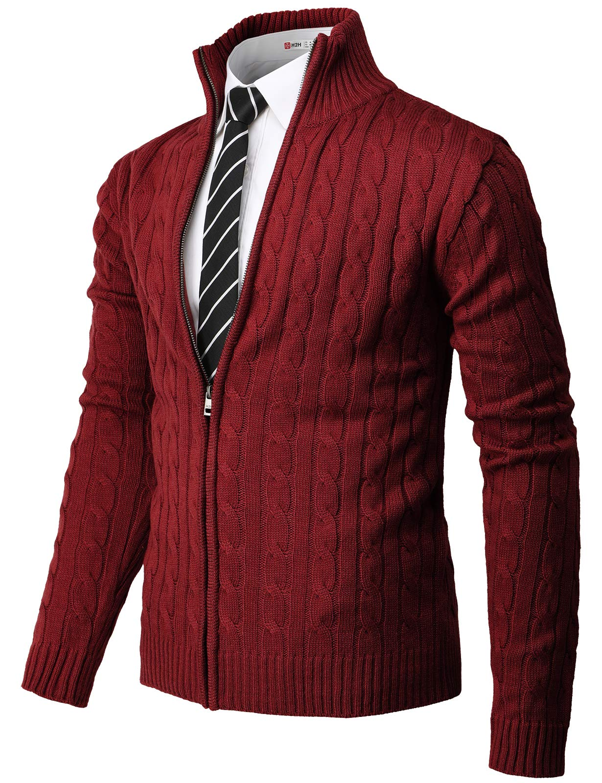 H2H Mens Casual Slim Fit Knitted Cardigan Zip-up Long Sleeve Thermal with Twisted Pattern RED US M/Asia L (CMOCAL034) by H2H