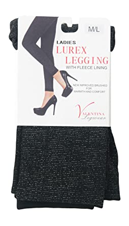 006b3d0f3b705 Womens Fleece Lined Glitter Shiny Black Thermal Lurex Leggings Winter  Legging (S/M): Amazon.co.uk: Clothing