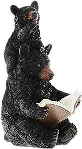 Black Bear Reading to Cub Figurine