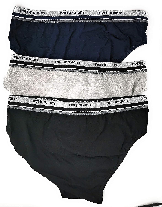 NOTTINGHAM Slip Uomo Cotone Bielastico Confezione 6 Paia Mutande Uomo Vita Bassa Boxer Uomo Cotone Elasticizzato Colori Assortiti Nero Blu Grigio