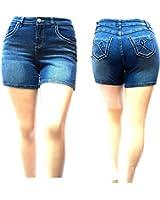 XBZ WOMEN'S Premium PLUS SIZE BLUE Denim jeans Shorts Stretch