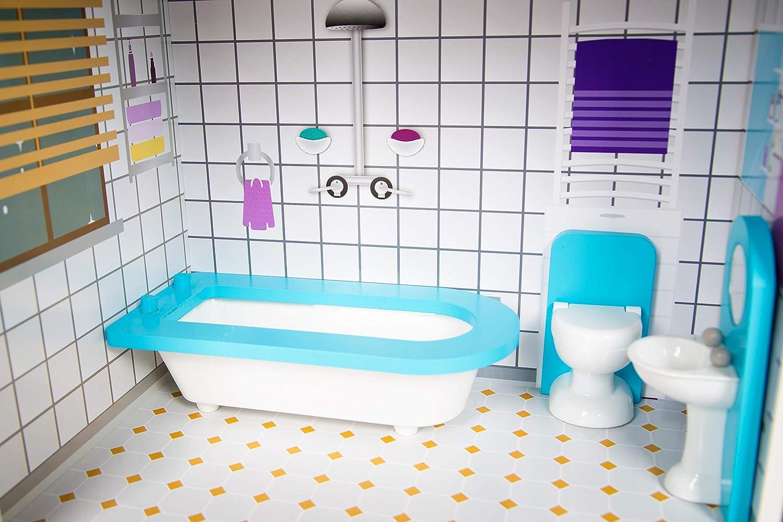 KinderplayGreen Puppenhaus Puppenvilla Puppenhaus Barbiehaus Traumhaus Holz Puppenstube GS0021 LED-Licht Zubeh/ör